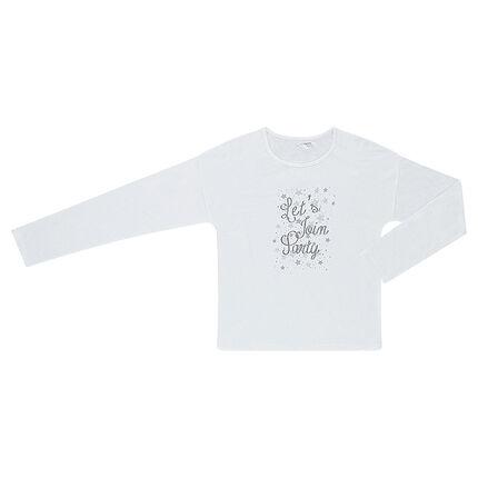 Junior - Tee-shirt manches longues avec message pailleté printé