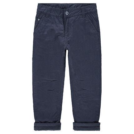 Pantalon en twill uni doublé micropolaire