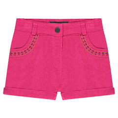 Short en velours milleraies avec broderies