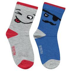 Lot de 2 paires de chaussettes avec personnages en jacquard
