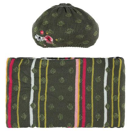 Ensemble bonnet et snood en tricot avec doublure en sherpa