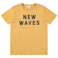 Junior - T-shirt manches courtes en jersey jaune avec message printé