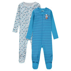 Lot de 2 dors-bien en jersey zippés rayé all-over et pandas printés all-over