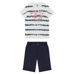 Ensemble avec tee-shirt effet shibori et bermuda uni