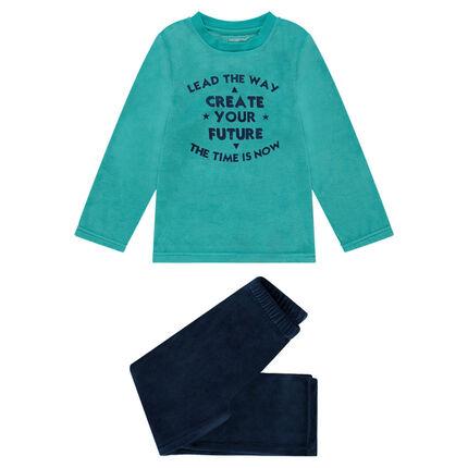 Pyjama bi-matière avec inscriptions printées