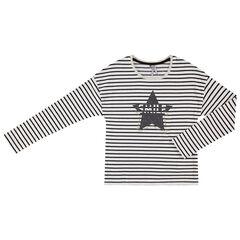 Junior - T-shirt manches longues en jersey à rayures et étoiles pailletée