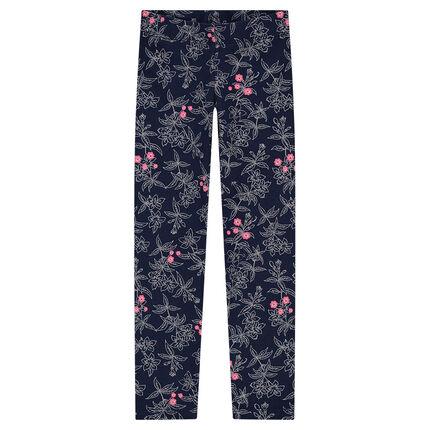 Legging en jersey avec fleurs printées all-over