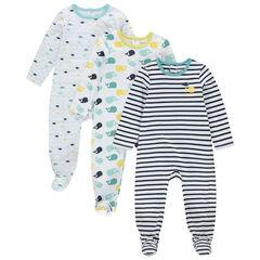 Lot de 3 dors-bien en coton bio pour bébé garçon imprimés poissons et baleines , Orchestra