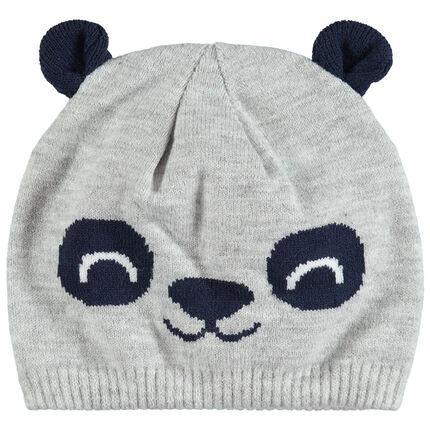 Bonnet en tricot doublé jersyea vec oreilles en relief