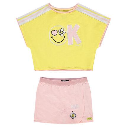 Ensemble avec tee-shirt forme boîte et jupe-short ©Smiley