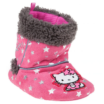 Chaussons bottines fausse fourrure avec patch Hello Kitty