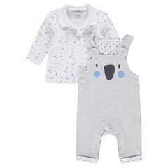 Ensemble avec polo imprimé all-over et salopette en jersey print koala