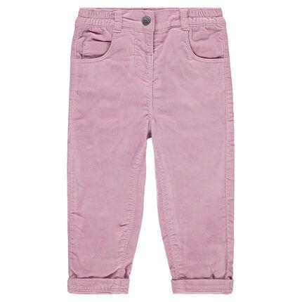 Pantalon en velours ras doublé jersey avec poches brodées