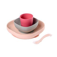 Set de vaisselle en silicone 4 pièces – Rose
