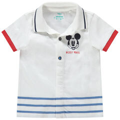 Polo manches courtes avec print Mickey ©Disney et rayures placées