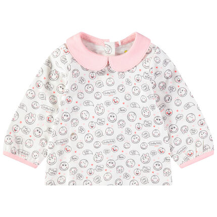 T-shirt manches longues col Claudine imprimé Smiley all-over