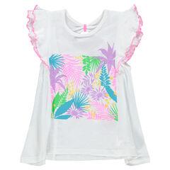 Tee-shirt manches courtes volantées avec imprimé floral pailleté