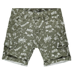 Junior - Bermuda en twill imprimé graffitis all-over