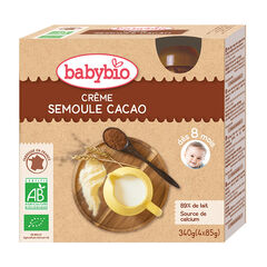 Pack de 4 gourdes bio crème semoule et cacao , Babybio