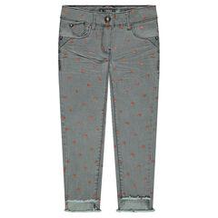 Jeans slim effet crinkle avec étoiles brillantes all-over