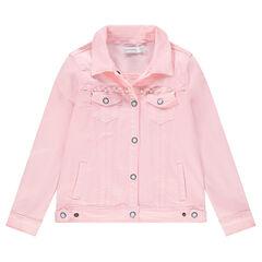 Junior - Veste en jean rose à perles fantaisie