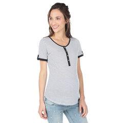 Tee-shirt manches courtes de grossesse et d'allaitement avec rayures all-over