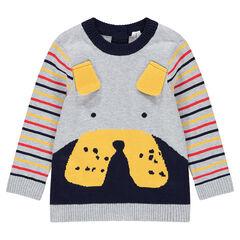 Pull en tricot avec oreilles en relief et rayures contrastées sur les manches