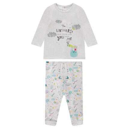 Ensemble tee-shirt en double jersey et pantalon en molleton imprimé contrecollé sherpa