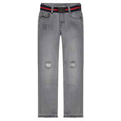 Junior - Jeans effet used et crinkle avec ceinture amovible