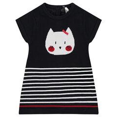 Robe manches courtes en tricot avec chat en jacquard et rayures placées