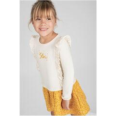 Robe en tricot effet 2 en 1 avec bas volanté imprimé pois 2379c7da8f3a
