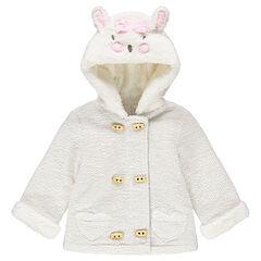 Veste à capuche en molleton fantaisie avec oreilles de lapin en relief