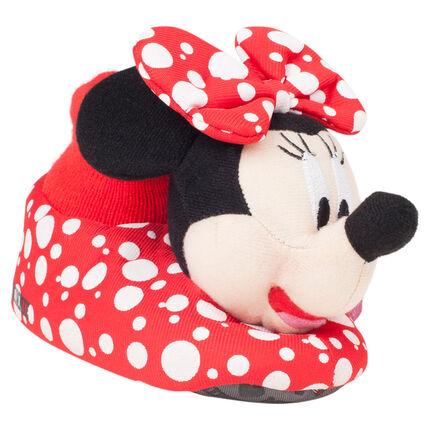 Chaussons peluche à pois Disney Minnie du 28 au 35