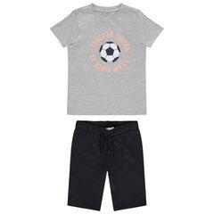 Pyjama court en jersey print ballon de foot