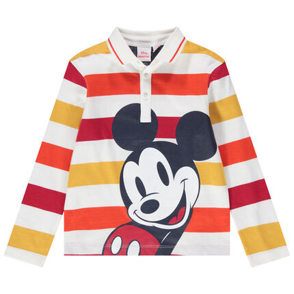 Polo manches longues en jersey rayé print Mickey Disney