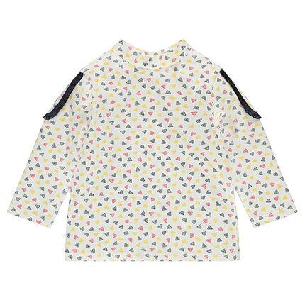Tee-shirt manches longues avec motif fantaisie all-over et épaulettes