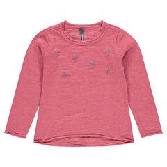 Junior - Pull en tricot slub et print fantaisie
