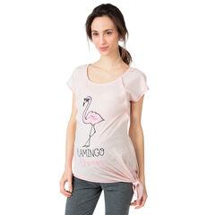 Tee-shirt homewear de grossesse et d'allaitement print flamant rose