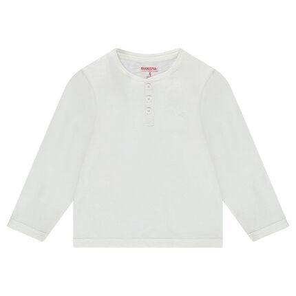 Junior - Tee-shirt manches longues en jersey uni avec ouverture au col