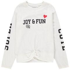 Junior - T-shirt manches longues à inscriptions printées et effet noué