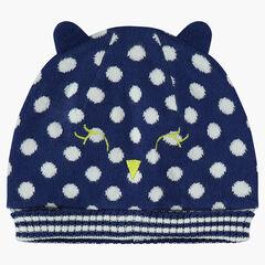 Bonnet en tricot doublé jersey à pois en jacquard