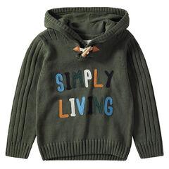 Pull en tricot à capuche à inscriptions patchées