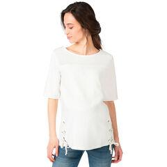 Tee-shirt de grossesse à manches courtes bi-matière