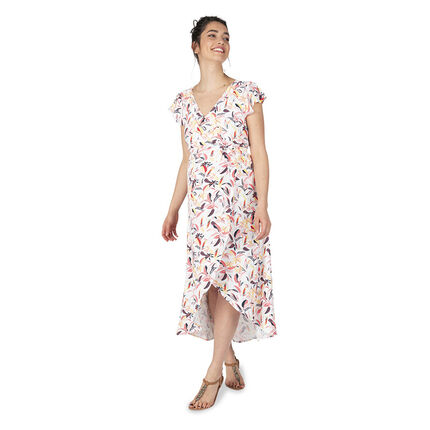 Robe longue de grossesse à manches volantées et imprimé végétal all-over