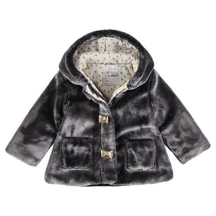 Manteau en sherpa à capuche avec doublure en jersey imprimée et corne
