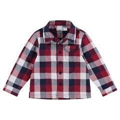 Chemise manches longues à carreaux doublée jersey