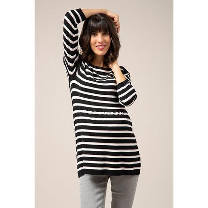 Pull de grossesse en tricot style marinière
