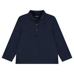 Junior - Polo manches longues en jersey slub avec logo printé