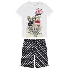 Pyjama en coton bio print tigre et étoiles