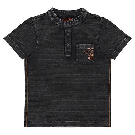 Tee-shirt manches courtes effet rayé avec col mao